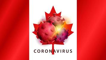 tecken på coronavirus covid-2019 på kanadas flagga vektor