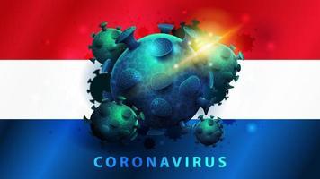 Zeichen des Coronavirus covid-2019 auf der Flagge der Niederlande vektor