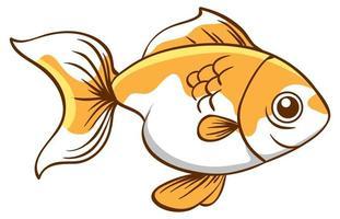 niedlicher Goldfisch auf weißem Hintergrund vektor