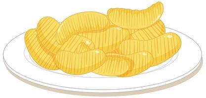 potatischips på en platta som isoleras på vit bakgrund