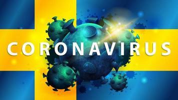 tecken på coronavirus covid-2019 på sveriges flagga