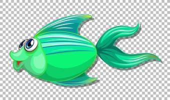 söt fisk med stora ögon seriefigur på transparent bakgrund vektor