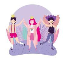 tecknad lgbtqi karaktärer för stolthet firande