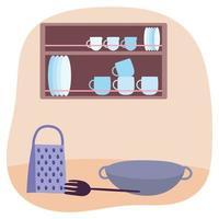 Küchenutensilien und Interieur vektor