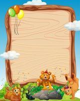 leere Holzbrettschablone mit Bären im Parteithema auf Waldhintergrund vektor