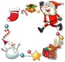 Weihnachtsrahmen mit Weihnachtsobjekten auf weißem Hintergrund
