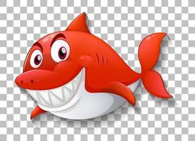 haj leende seriefigur på transparent bakgrund vektor