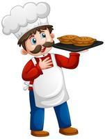 Koch, der Tablett des Kuchens auf weißem Hintergrund hält