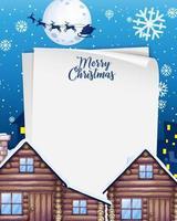 blankt papper med logotyp för god julstilsort i staden på nattplatsen vektor