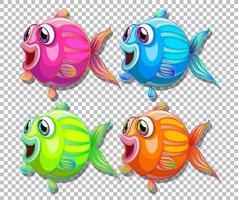 Satz verschiedenfarbiger Fische mit Zeichentrickfigur der großen Augen auf transparentem Hintergrund