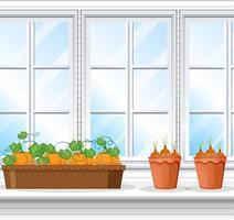 grönsaksväxter med fönsterbakgrundsscen