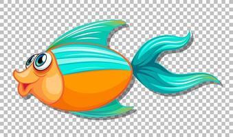 söt fisk med stora ögon seriefigur på transparent bakgrund