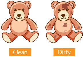 entgegengesetzte Adjektive Wörter mit sauber und schmutzig vektor