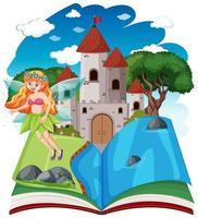 Märchen und Schlossturm auf Pop-up-Buchkarikaturstil auf weißem Hintergrund