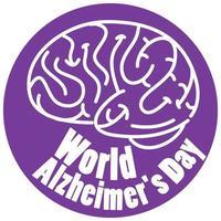 Weltalzheimer-Tageslogo in Purpur mit Gehirnzeichen lokalisiert auf weißem Hintergrund vektor