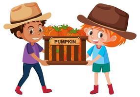 Kinder Jungen und Mädchen mit Obst oder Gemüse auf weißem Hintergrund vektor