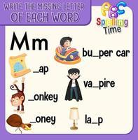 fyll i den saknade bokstaven i varje ordark för barn