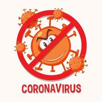 stoppa coronavirus prohitbit tecken med coronavirus seriefigur vektor