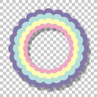 Pastellregenbogenringrahmen lokalisiert auf transparentem Hintergrund