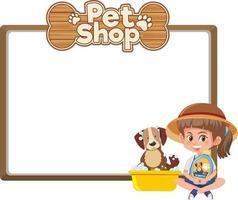 leere Banner mit Kind und niedlichem Hund und Tierhandlung-Logo lokalisiert auf weißem Hintergrund