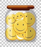 viele gelbe glückliche Symbole in einem Glas lokalisiert auf transparentem Hintergrund vektor