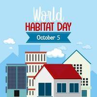 världens livsmiljö dag 5 oktober ikonlogotyp med städer eller stad