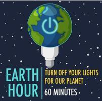 Earth Hour-kampanjaffisch eller banner stänger av dina lampor för vår planet 60 minuter