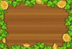 Draufsicht des leeren Holztischs mit Blättern und gelben Blumenelementen vektor