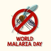 Weltmalaria-Tageslogo oder -banner mit Mückenzeichen