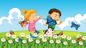 Junge und Mädchen spielen im Freien vektor