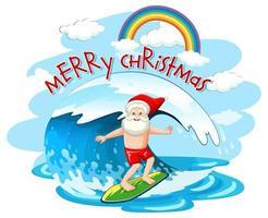 Weihnachtsmann, der auf Welle im Weihnachtssommerthema surft