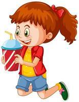 isolerad flicka som håller drinken vektor