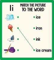 Ordnen Sie das Bild dem Wortarbeitsblatt für Kinder zu