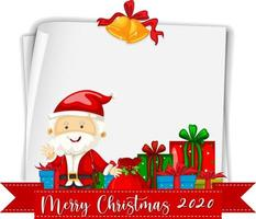 leeres Papier mit Frohe Weihnachten 2020 Schriftlogo und Weihnachtsmann vektor