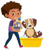 Junge, der Hundeshampooprodukt mit niedlichem Hund auf weißem Hintergrund hält