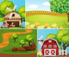 uppsättning gård scen tecknad stil vektor