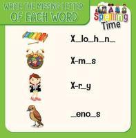 skriv den saknade bokstaven i varje ordark för barn