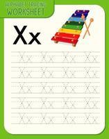 alfabetet spårning kalkylblad med bokstaven x och x