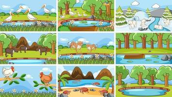bakgrundsscener av djur i naturen vektor