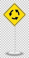 Kreisverkehr Schild isoliert auf transparentem Hintergrund vektor