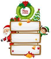leeres hölzernes Zeichen mit Frohe Weihnachten Schriftlogo mit Weihnachtskarikatur auf weißem Hintergrund