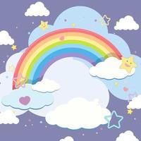 leere Wolke mit Regenbogen im Himmel auf blauem Hintergrund