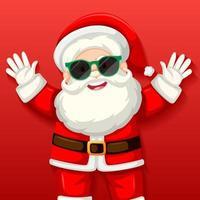 niedlicher Weihnachtsmann, der Sonnenbrillen-Zeichentrickfigur auf rotem Hintergrund trägt
