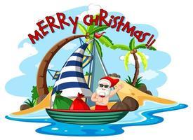 jultomten på strandön för sommarjul vektor