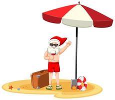 Weihnachtsmann, der Weinglas-Zeichentrickfigur im Sommerkostüm hält