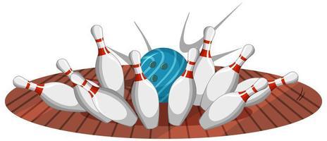 Bowlingstreikkarikaturstil lokalisiert auf weißem Hintergrund vektor