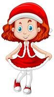 söt flicka i tecknad karaktär för juldräkt