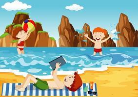 havsscen med människor som har kul på stranden