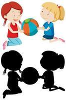 zwei Mädchen spielen Ball in Farbe und Silhouette vektor