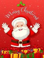 söt jultomte med många presenter på röd bakgrund